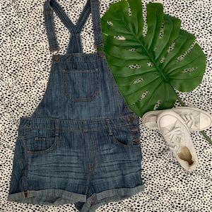Express Denim Overall Shorts